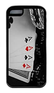 case design Four aces poker cards TPU Black Case for iphone 5C