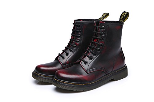 Men Women Leather Black Boots Military 1bacha Fashion and Tortor Red Combat for BFw0zOq