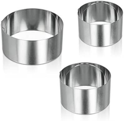 Metaltex 204536 - Juego de 3 Aros para emplatar de Acero Inoxidable, 60/80/100 x 45 milímetros