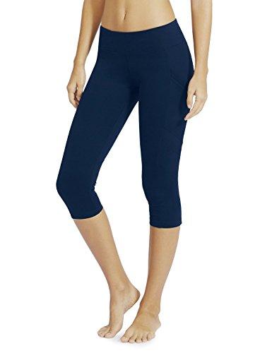 Baleaf Women's Yoga Workout Capris Leggings Side Pocket for 5.5″ Mobile Phone Denim Blue L