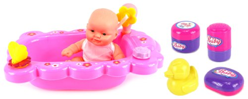 Bath Time Baby Playset (Velocity Toys Mommy & Baby Bathtub Time Toy Baby Doll Playset w/ Baby Doll, Bathtub, Bath Accessories)