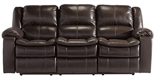 Signature Design by Ashley 8890588 Long Knight Collection Reclining Sofa, Brown, Manual - Collection Brown Leather Loveseat