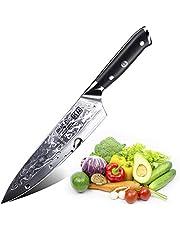 SHAN ZU Damastmesser Kochmesser 67 Schichten Damaststahl Küchenmesser mit G10 Griff 20cm - PRO Series
