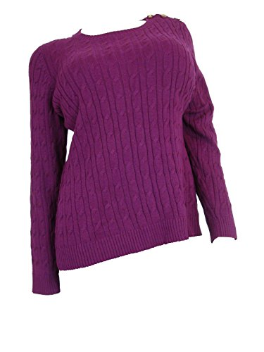 Charter Club Long Sleeve Cable Knit Sweater, Acai Berry ()