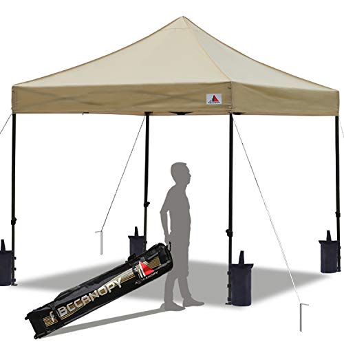 ABCCANOPY Pop up Canopy Tent Commercial Instant Shelter with Wheeled Carry Bag, 10x10 FT Beige