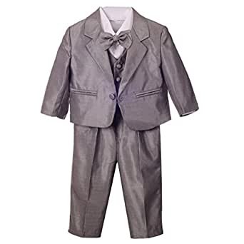 Dressy Daisy Baby Boys' Formal Dress Suit Tuxedo No Tail 5pc Set Wedding Outfits Size 9 Months Silver Grey