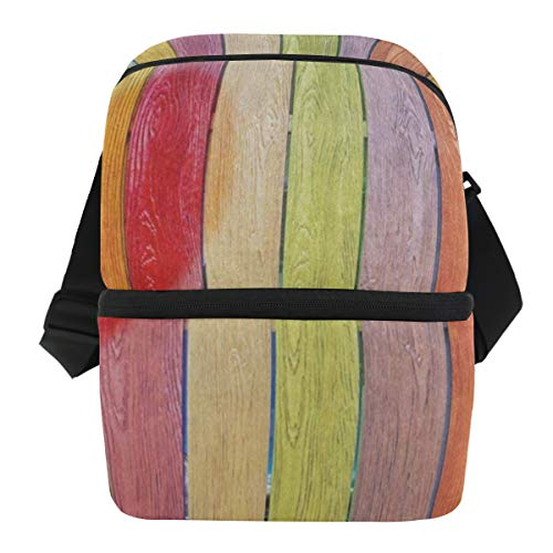 Lunch Bag Multicolored Wooden Plank Heart Portable Cooler Bag Mens Leakproof Lunch Box Zipper Tote Bags for Fishing