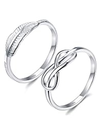 Fiasaso 2 Pcs 925 sterling silver Women's Ring Band Engagement Wedding Ring set