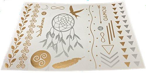 Chinese Symbol Tattoo (Dream Catcher Tribal Flash Metallic Gold Silver Premium Jewelry Temporary Bling Tattoo)