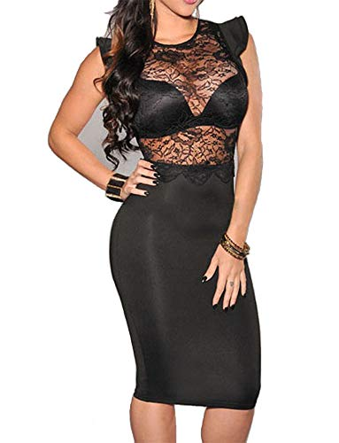 Red Dot Boutique 6473 - Plus Size Sexy Sheer Mesh Crochet Lace Bodycon Club Dress (L, - Black Lace Dress Club