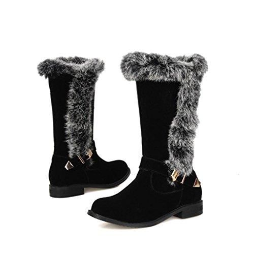 Neige féminines Chaussure de Talon dans Femelle Bas Dames Boucle Frotter Grande Le Taille Bottes Ceinture Bottes Black de Tube qTtTAzwx