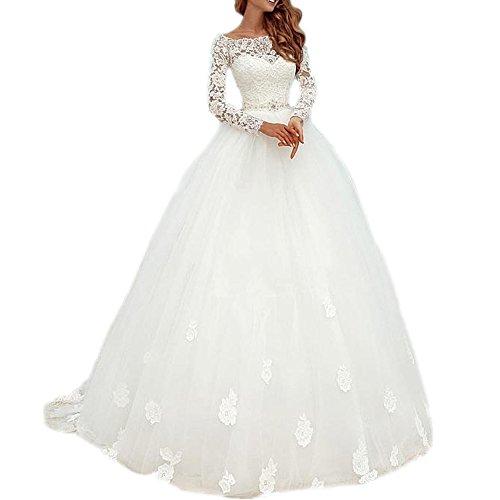 2f69d803b70 DreHouse Women s Lace Long Sleeve Vintage Wedding Dresses 2017 Bridal Gowns  Plus Size