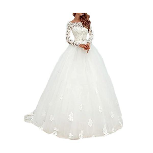 2d75ca14e32c9 DreHouse Women s Lace Long Sleeve Vintage Wedding Dresses 2017 Bridal Gowns  Plus Size