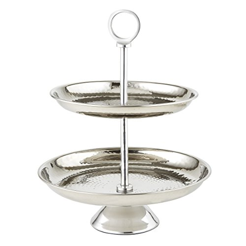 (Elegance Stainless Steel Two Tier Tray, Silver)
