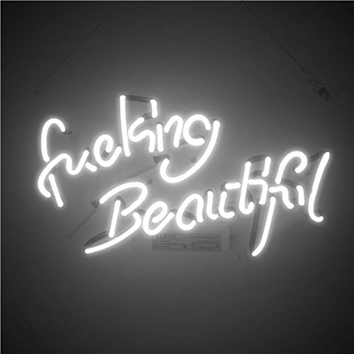 - KUKUU Beer Neon Wall Signs Room Decor Fucking Beautiful for Home Bedroom Girls Pub Hotel Beach Cocktail Recreational Game Room 14