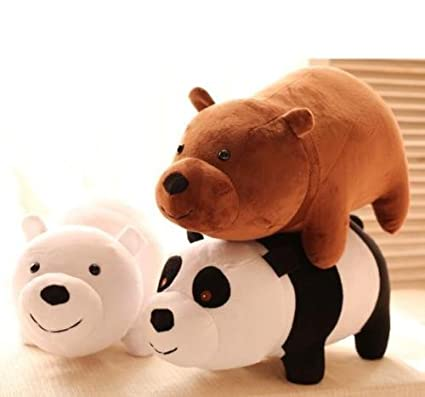 3pcs/setNEW TV Show We Bare Bears Plush Doll Toys Panda Grizzly Xmas Gifts Cute