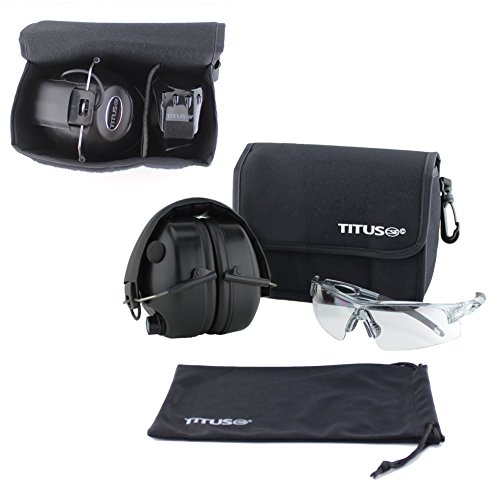 TITUS Earmuff/Glasses Combo – Electronic Noise Cancelling Muffs & G Series Safety Glasses - (EarMuffs, Glasses, and Carrying Case) - Personal Safety, Shooting Gear, Portable - Buy Canada Online Frames Glasses