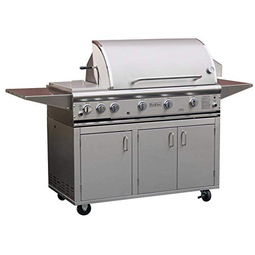 Profire Professional Deluxe Series 48-inch Freestanding Infrared Hybrid Propane Gas Grill With Double Side Burner