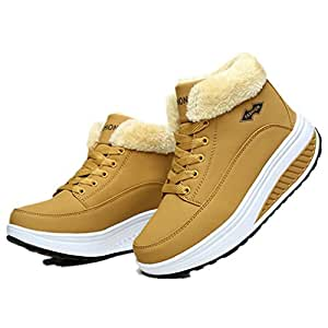Women Boots Winter Velvet Shoes Warm Snow Fur Ankle Boots For Women Lace Up Heel BootsYellow 8.5