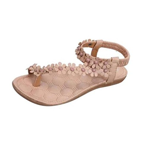 Koly Women's Fashion Sweet Summer Bohemia Beaded Sandals Clip Toe Sandals Beach Shoes Khaki