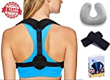 Back Posture Corrector for Women & Men – Effective & Comfortable Posture Brace for Slouching & Hunching - Adjustable Back Brace Upper Back Pain Relief – Clavicle Support – Free Inflatable Neck Pillow