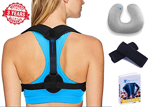 Back Posture Corrector for Women & Men – Effective & Comfortable Posture Brace for Slouching & Hunching - Adjustable Back Brace Upper Back Pain Relief – Clavicle Support – Free Inflatable Neck P