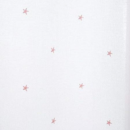 Deconovo Tende Cameretta Bambini Trasparenti Ricamate Stelline Rosa in Voile con Occhielli per Porta Finestre 140x175 CM Bianco 2 Pannelli