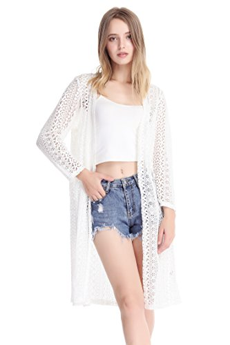 MissShorthair Womens Fashion Lace Crochet Open Front Cardigan Kimono Blouse Tops with Tassels (2 White) from MissShorthair