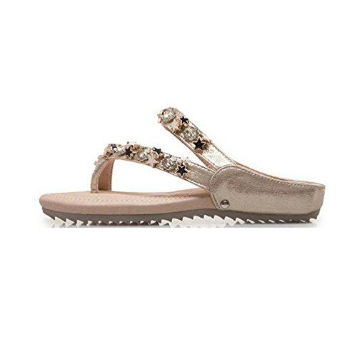 Tongs Brillante Féminine étoile Plate Plate Sandales Beach Thong Mode Forme Or Cloutée Confort JRenok Summer IxvZqwE