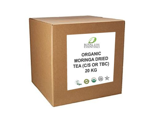 Moringa Dried Tea - 20 KG or 44 lbs. - USDA Certified Organic Raw Pure Natural Herbal Tea Supplement Leaves by Royal Life Essentials