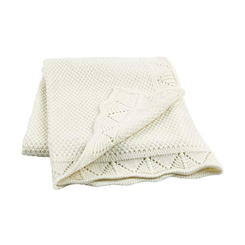 """Baby Blanket Knitted Soft Cellular Blanket,Super Soft and Warm Crib Blanket for All Seasons(Ivory,40""""x30"""")"""