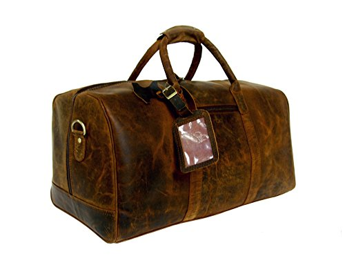 Basic Gear Full Grain Leather Weekender Travel Bag by Basic Gear