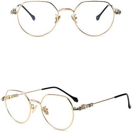 Optische Brillen, die blendfreie 100%, klarere Vision und reduzieren die Belastung der Augen Unisex Metall Anti-blau optische Brillen, Brillengestell Brillenfassungen ( Color : Rose gold frame )