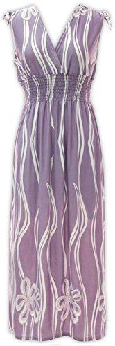 Maxi Dresses - V Neck Printed Floral Dress (Small, Wavy Floral Dress - ()