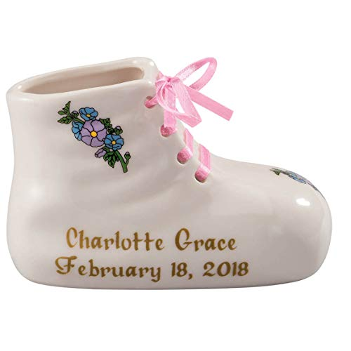 "Porcelain Personalized Baby Bootie Heirloom-Pink Girl-Customize Ceramic Baby Shoe Keepsake with Baby Name, Birth Date, Time, Weight and Length-Birth, Baptism or Christening Gift-4"" Long by 2"" Wide"
