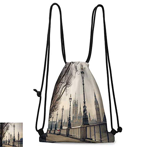 Portable backpack London Decor Collection View of Big Ben and Houses of Parliament from the Riverside with Retro Street Lights Picture W14