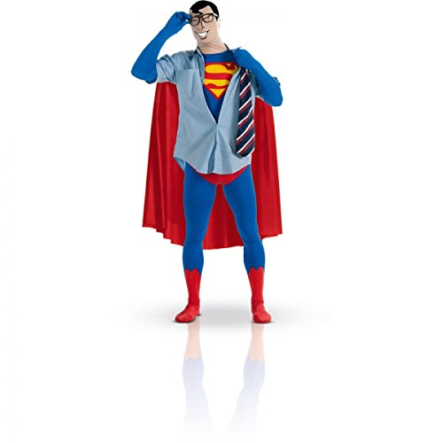 Batman And Robin Costumes Uk (Superhero 2nd Skin Full Body Suit Adult Costume Superman - Red and Blue - Large)