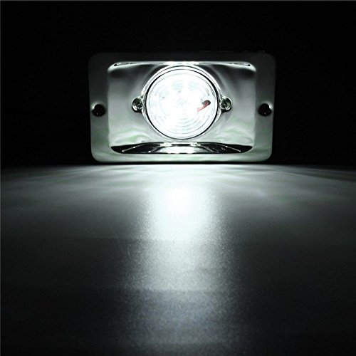 TOTAL MARINE Pac Trade Boat LED Transom Stern Light Stainless Steel 304 Splash Proof Flush (Led Round Transom Light)
