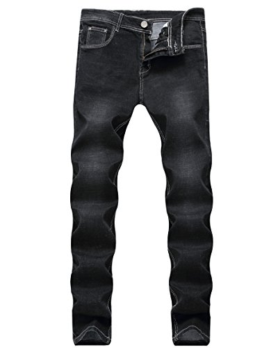 Skinny Trousers Stretch (Hochock Men's Skinny Stretch Elastic Jeans Slim Fit Comfy Fashionable Pants Denim Black W34)