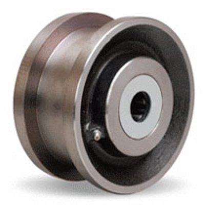 Double-Flanged-Track-Wheel-5-Diameter-x-1-1116-Face-x-3-14-Hub-length-with-1-Roller-Bearing