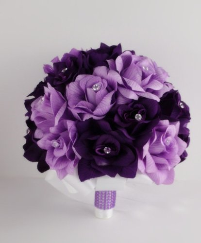 12 Lavender Roses - Large Bridal Wedding Bouquet Made with 2 Dozens of Purple Lavender Roses