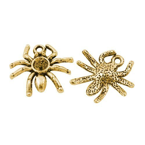 Paquet 15 x Or Antique Tibétain 19mm Breloques Pendentif (Araignée) - (ZX08190) - Charming Beads