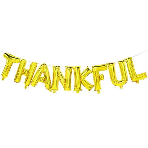 Thankful Balloon Banner | Thanksgiving Balloons | Thanksgiving Party Decorations for Home | Gold, 16inch Tall