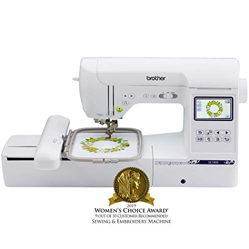 Brother Computerized Sewing and Embroidery Machine, SE1900, Combination Sewing and Embroidery Machine with 5″ x 7″ Embroidery Field, Large Color Touch LCD Screen, 138 Built-In Designs, 8 Sewing Feet