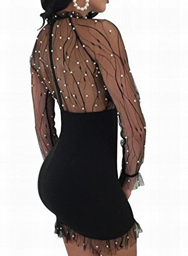 Domple Femmes Sexy Perlant Coutures Maille Transparent Mini Robe Moulante Noire