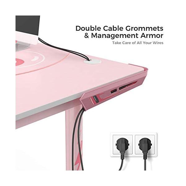 Eureka Ergonomic L60 Corner Gaming Desk L Shape Pink Gaming Computer Desk Home Office Writing Table 60 X 43in W Mousepad Popular Gift For Girlfemalee Sports Lover Left Side