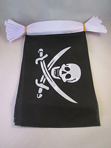 AZ FLAG Pirate Jack Rackham 6 Meters Bunting Flag 20 Flags 9'' x 6'' - Pirates String Flags 15 x 21 cm