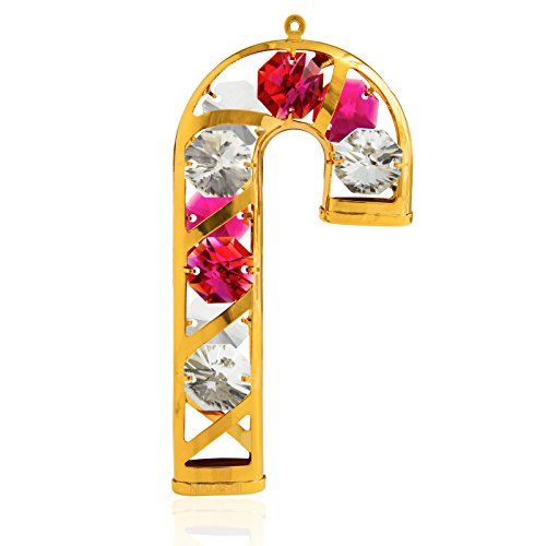 Matashi Christmas Tree Hanging Ornament with Crystals (Candycane, Gold with Red Crystals)