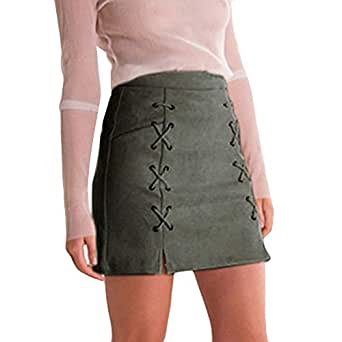 22fd85d9a2 KASAAS Skirts Dresses for Women Solid Vintage Bandage Suede Slim Seamless  Stretch Tight Short Mini Skirt
