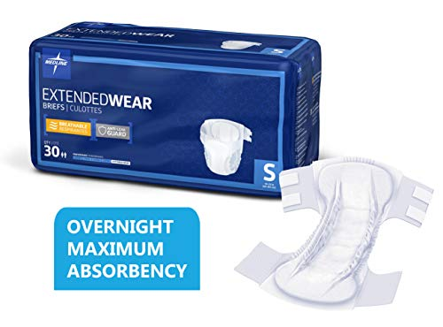 Medline Extended Wear Overnight Adult Briefs with Tabs, Maximum Highest Absorbency Adult Diapers, Small (30 Count)